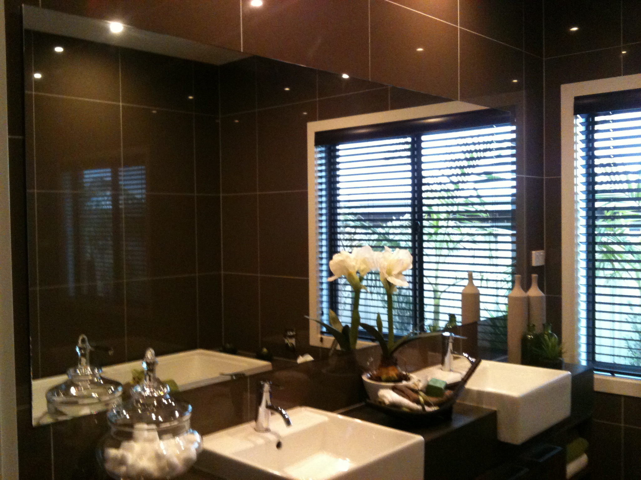 Luxurious bathroom with chocolate late tiles