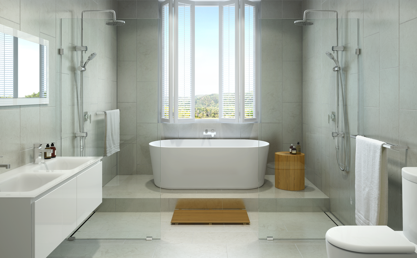 The bath freestanding vs built in for Built in tub dimensions